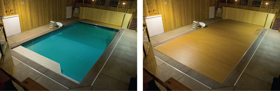 Load-bearing retractable pool cover puts floor over pool